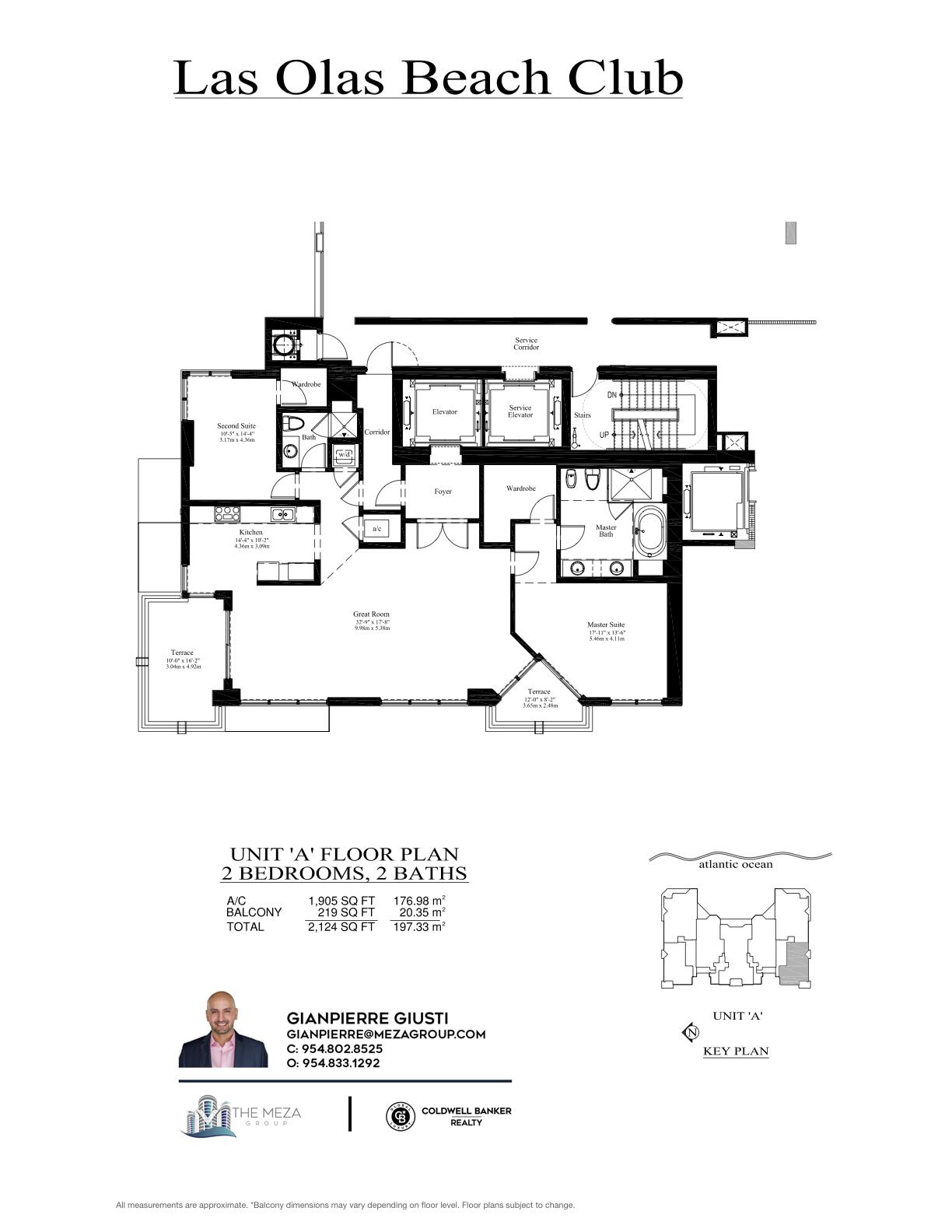 Las Olas Beach Club Model 'A', '07' Line Floor Plan