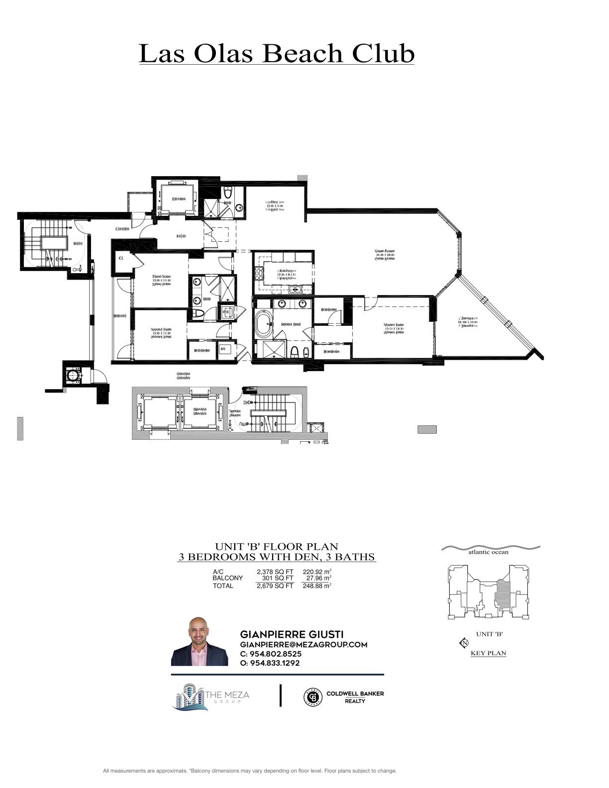 Las Olas Beach Club Model 'B', '02' Line Floor Plan