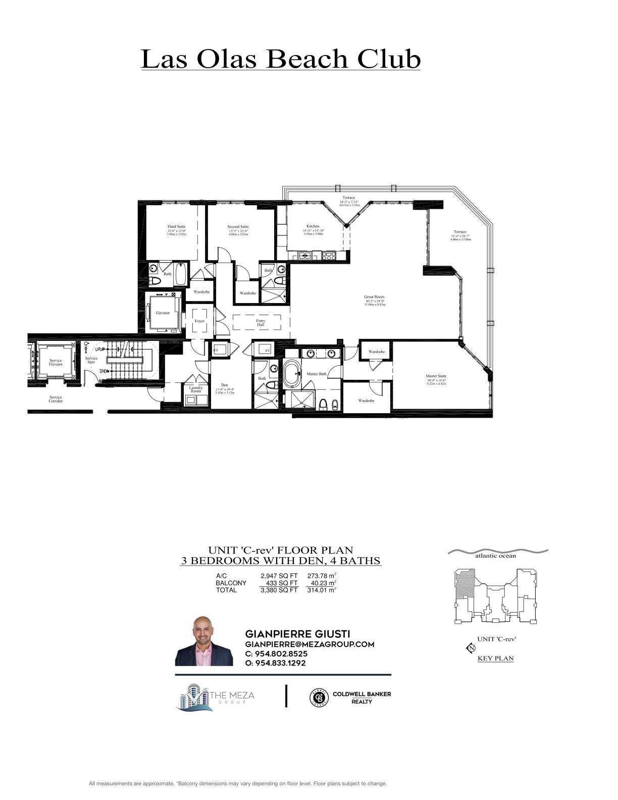 Las Olas Beach Club Model 'CR', '05' Line Floor Plan